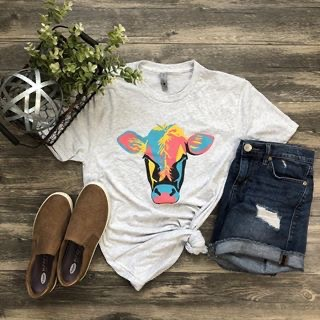 T-shirt with rainbow cow on front