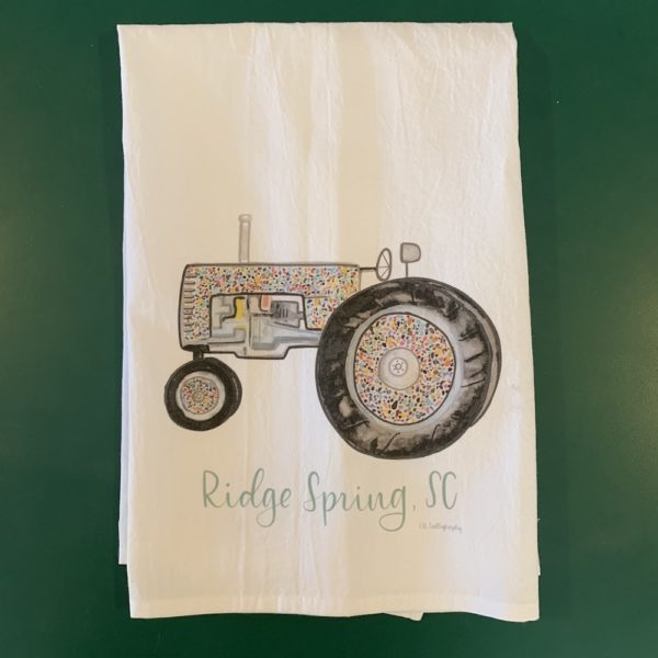 Tea towel with image of rainbow tractor and Ridge Spring, SC