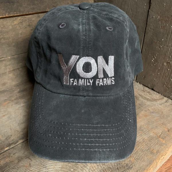 Yon Family Farms grey hat with silver logo