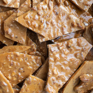 Up close photo of Nut House's Pecan Brittle