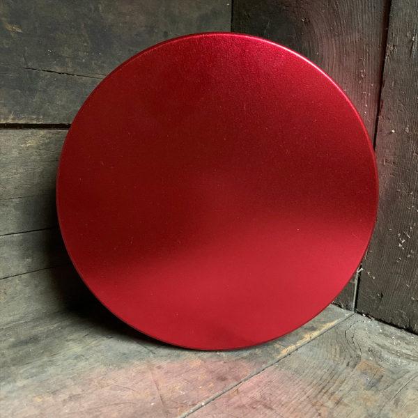 small red metallic candy tin