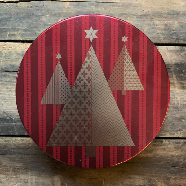 Red striped tim with three geometric gold trees