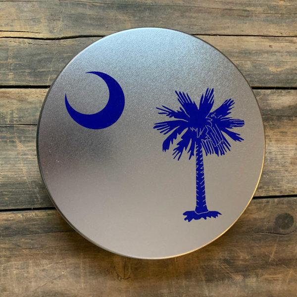 large blue South Carolina Flag design on tin