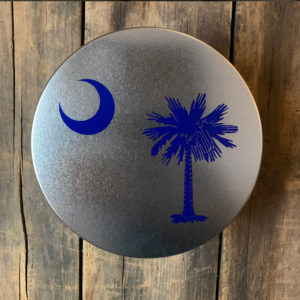 small blue South Carolina Flag design on tin