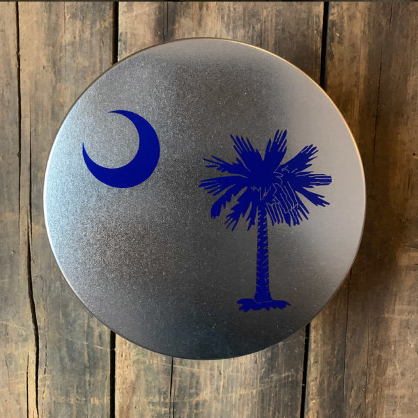 small blue South Carolina Flag design on tin
