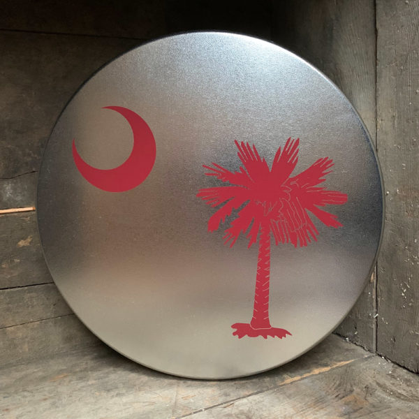 large garnet South Carolina Flag design on tin
