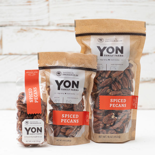 Grouping of all three sizes available of Spiced Pecans